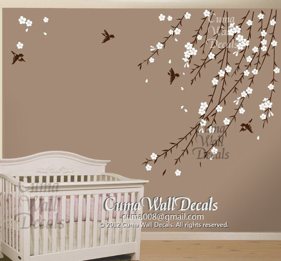 cherry blossom birds nursery wall decals tree vinyl wall decals decal children wall sticker. Black Bedroom Furniture Sets. Home Design Ideas