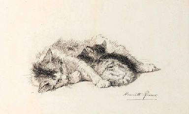 Henriette Ronner-Knip (1821-1909)  A study of a cat and kitten  signed 'Henriette Ronner' (lower right)  pen and black ink  7¼ x 11¾in. (18.5 x 29.8cm.)pc