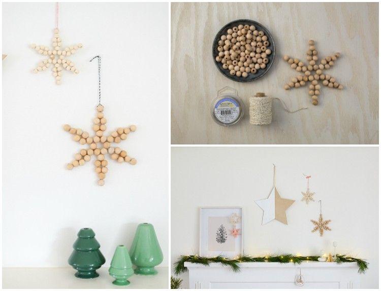 Mit Holzperlen Basteln Schneeflocken Deko Weihnachten Selber