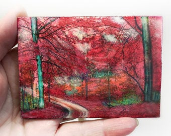 White River ACEO Original Acrylic painting Handmade Painting ACEO Card collection gift Landscape Painting Modern Artwork