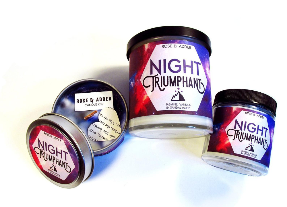Night Triumphant Bookish Candle Wood Wick Soy Candle Etsy Wood Wick Soy Candles Wood Candles Wood Wick Candles