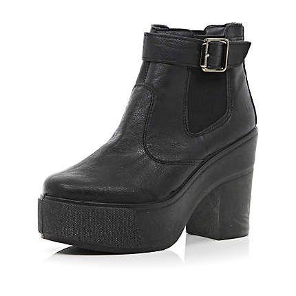 Black chunky block heel ankle boots £40.00 | 2014 | Pinterest ...