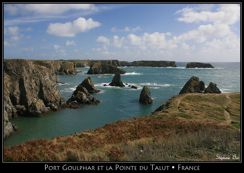 """Porh Goulphar and the Pointe du Talud.  Situated off the west coast of Brittany, Belle-Ile  posseses two very different coasts. The West coast, which receives the wildest storms from the Atlantic, called """"La Mer Sauvage"""", is bordered by jagged cliffs more than 30m high. The 'aiguilles' (rock needles) of Port-Coton,  on the """"Mer Sauvage"""" coast, are especially picturesque and Monet painted them many times.  Morbihan.  Brittany"""