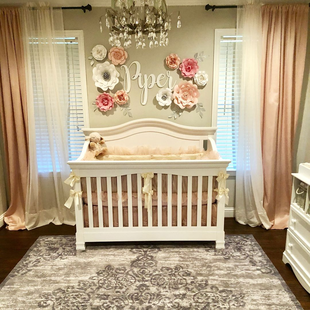 Nursery Decor Baby Girl Toddler Room Paper Wall Flowers Baby