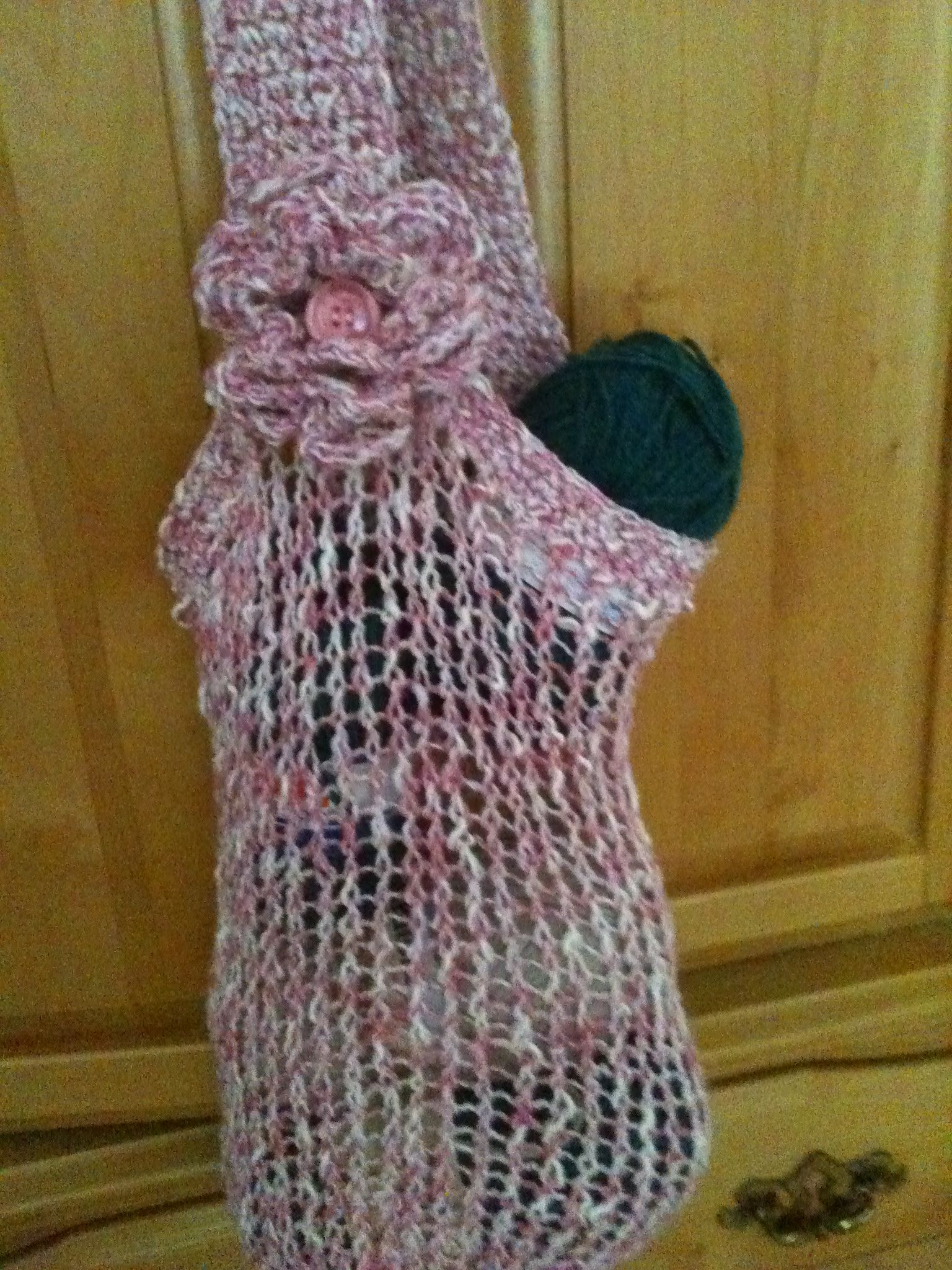 Market Bag, loom knit, crocheted trim, strap and flower. Yarn is 50 ...
