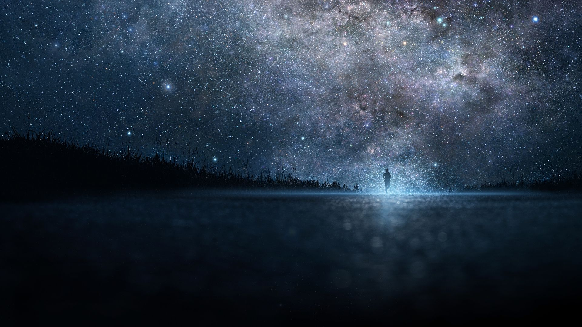 1920x1080 Wallpaper Star Art Sky Night People Silhouette Com
