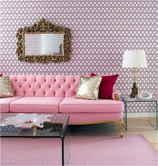 Pretty in Pink Living Room. Great pink sofa and lovely gold accents ...