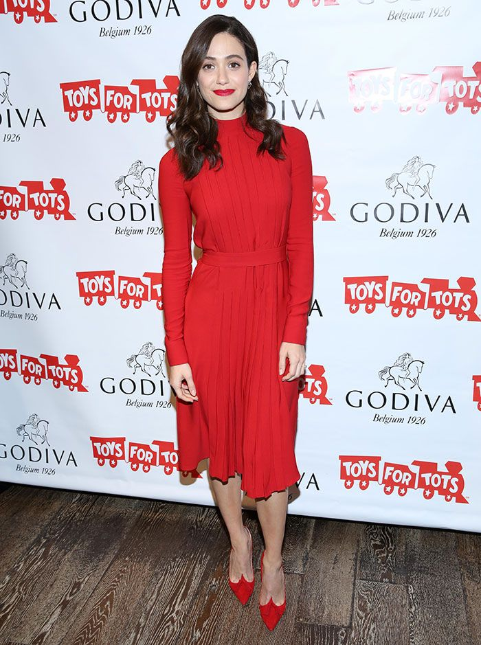 "c8024614bc03 Emmy Rossum in Red Christian Louboutin ""Gwalior"" Pumps"