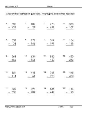 practice digit subtraction with these free math worksheets  my  sub with regrouping