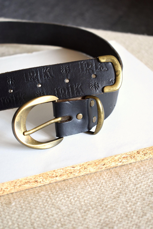 boho belt Made in the UK Vintage 90/'s black leather waist belt Rectangular buckle belt Soft leather belt High-waist belt Hipster