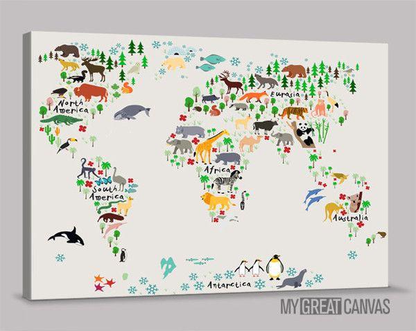Animal world map canvas prints for kids room world map canvas animal world map canvas prints for kids room world map canvas print nursery room sciox Choice Image