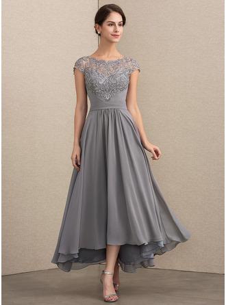 Photo of [€ 171.00] A-Line Scoop Asymmetrisches Kleid aus Chiffon-Spitze für die Mutter der Braut – JJ's House
