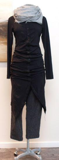 stilecht - mode für frauen mit format... - rundholz - Longbluse Kleid Schnittwunder schwarz - Winter 2013