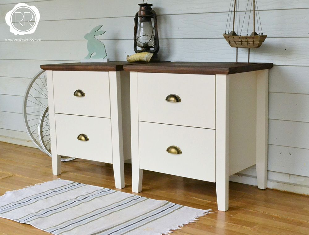 Provincial white bedside tables with rich timber top painted in raw revials unique upcycled vintage homewares furniture melbourne white bedside watchthetrailerfo
