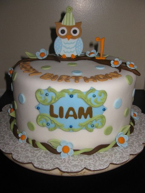 Sage Green Baby Blue Owl Cake with Polka Dots and Flowers Liam