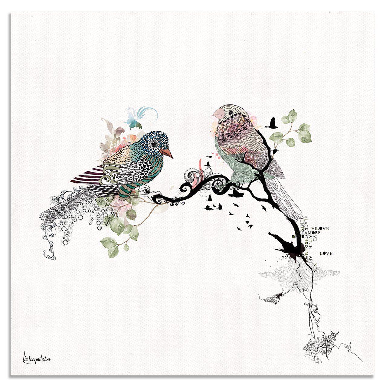 Love Birds Art - Liz Kapiloto Art & Design. a beautiful, romantic birds art print of an original watercolor and black ink artwork. arrives in a varius sizes. #birdart #illustration #lovebird #blackink #painting #art #artist #artforsale #love #bedroomart #artprint #wallart #artshub #artlover #lizkapiloto