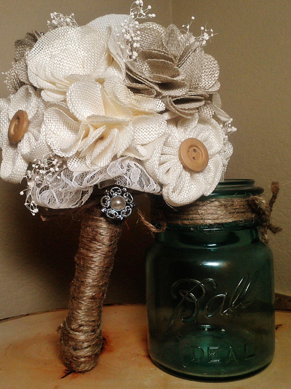 Wedding bouquets not flowers  rustic wedding bouquets w burlap  Rustic Chic Burlap Bouquet