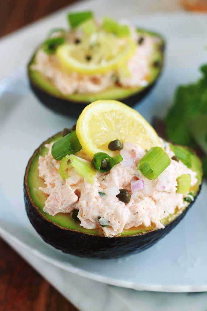 Avocats farcis aux rillettes de saumon, recette facile et rapide #fastrecipes