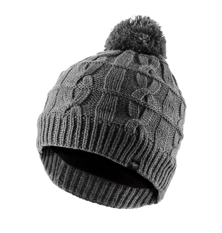 One Size Black SEALSKINZ Unisex Waterproof Unisex Cable Knit Bobble Hat