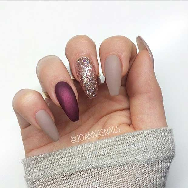 Matte Neutral and Glitter Nail Design for Coffin Nails - 25 Cool Matte Nail Designs To Copy In 2017 StayGlam Beauty