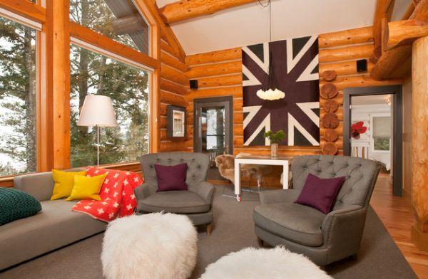 Contemporary Log Cabin Interior