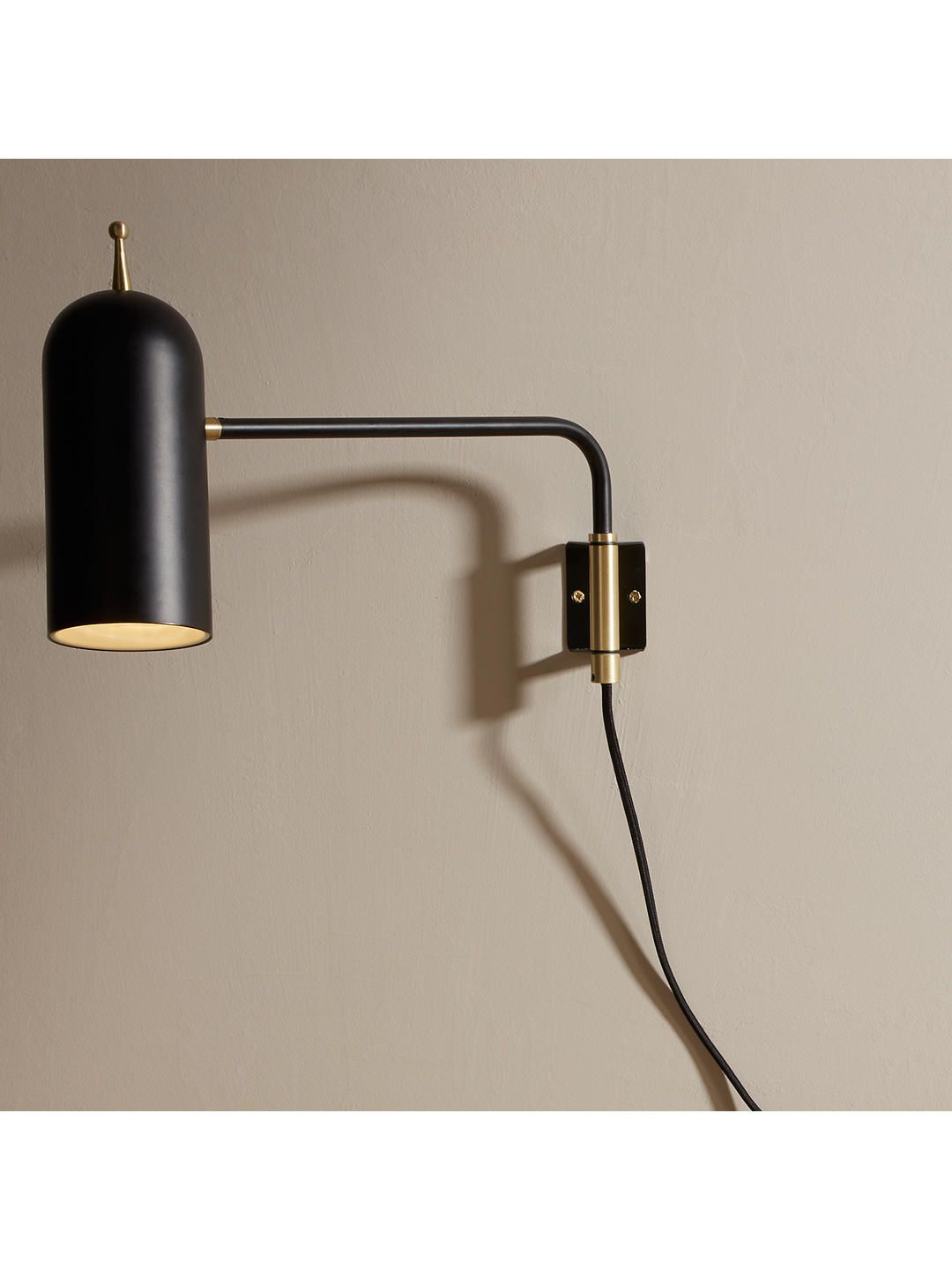 Design Project By John Lewis No 045 Led Plug In Wall Light White In 2020 Wall Lights Black Wall Lights Plug In Wall Lights