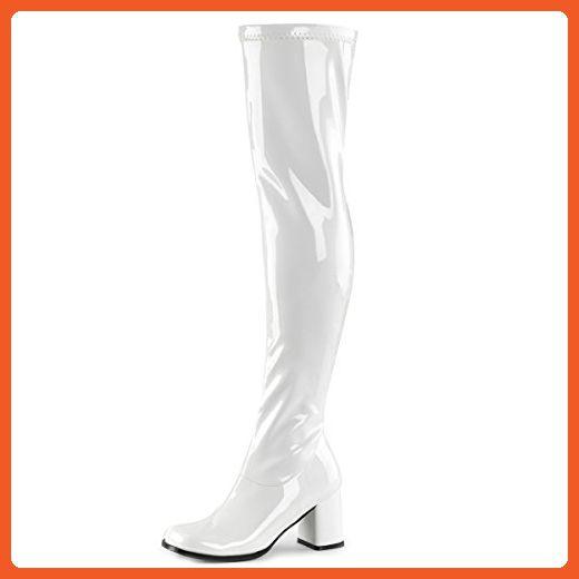 e1ffdbc11e60c Womens White Go Go Boots Over The Knee Stretch Patent Zipper Block 3 ...