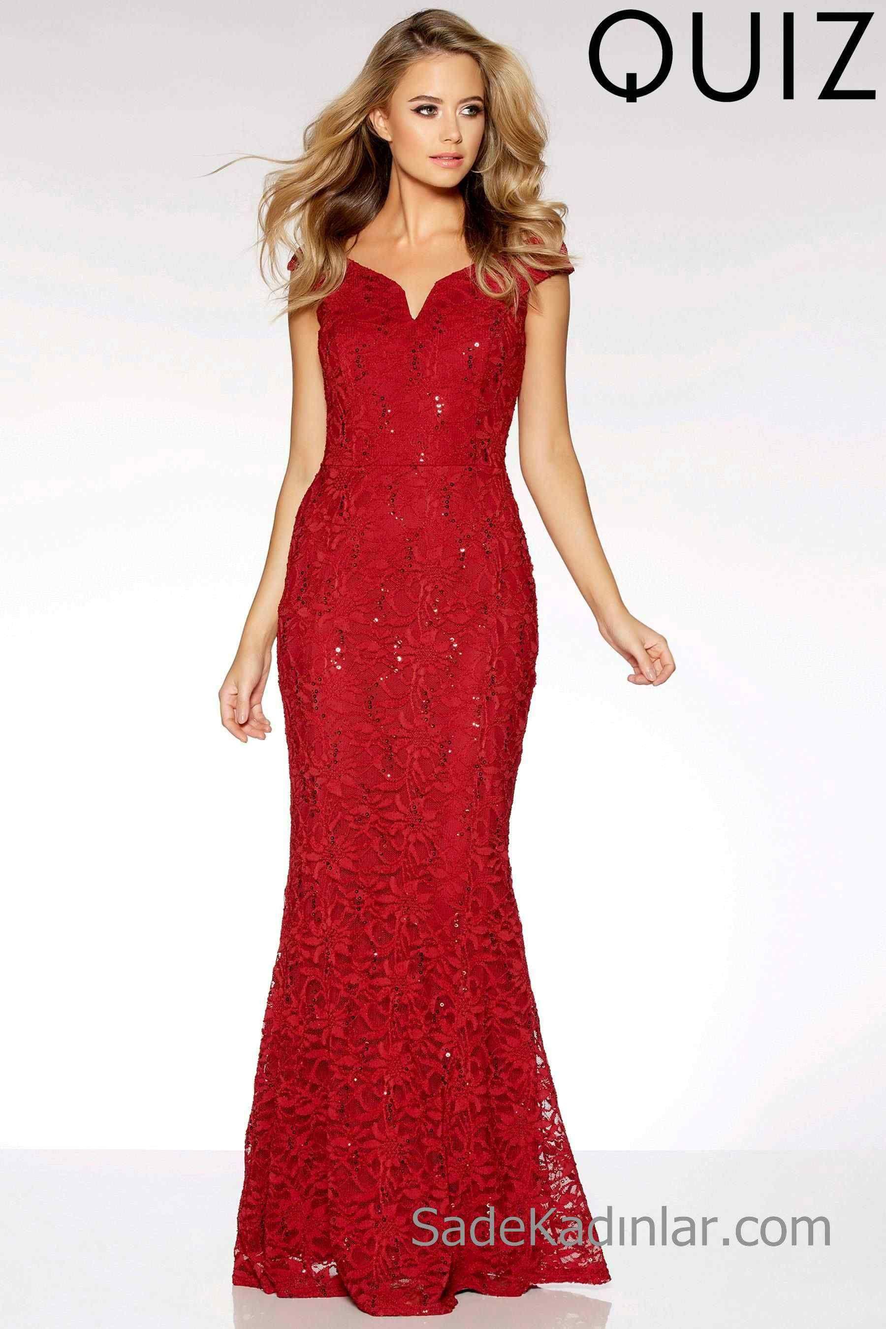 77baca001aee9 Kırmızı Elbise Dantel Payetli Uzun Abiye Modelleri | Abiye Elbise ...