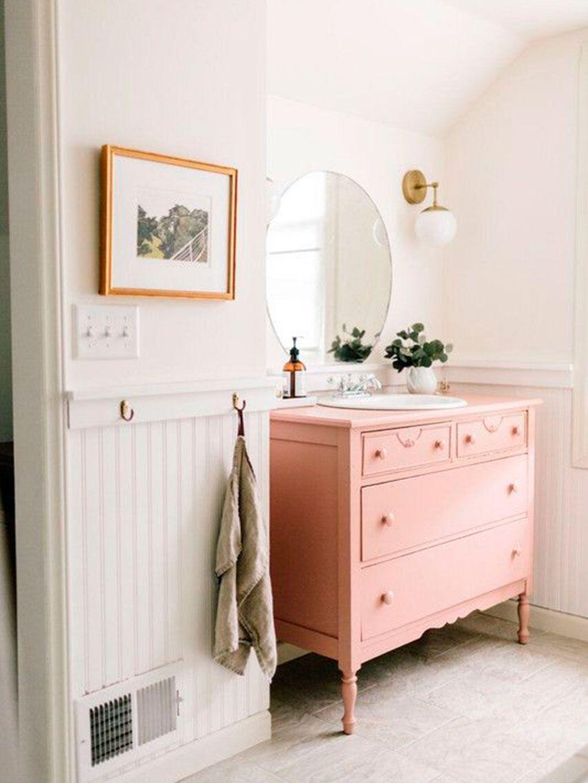 14 Banos De Color Rosa Decoracion De Unas Muebles Vintage Y