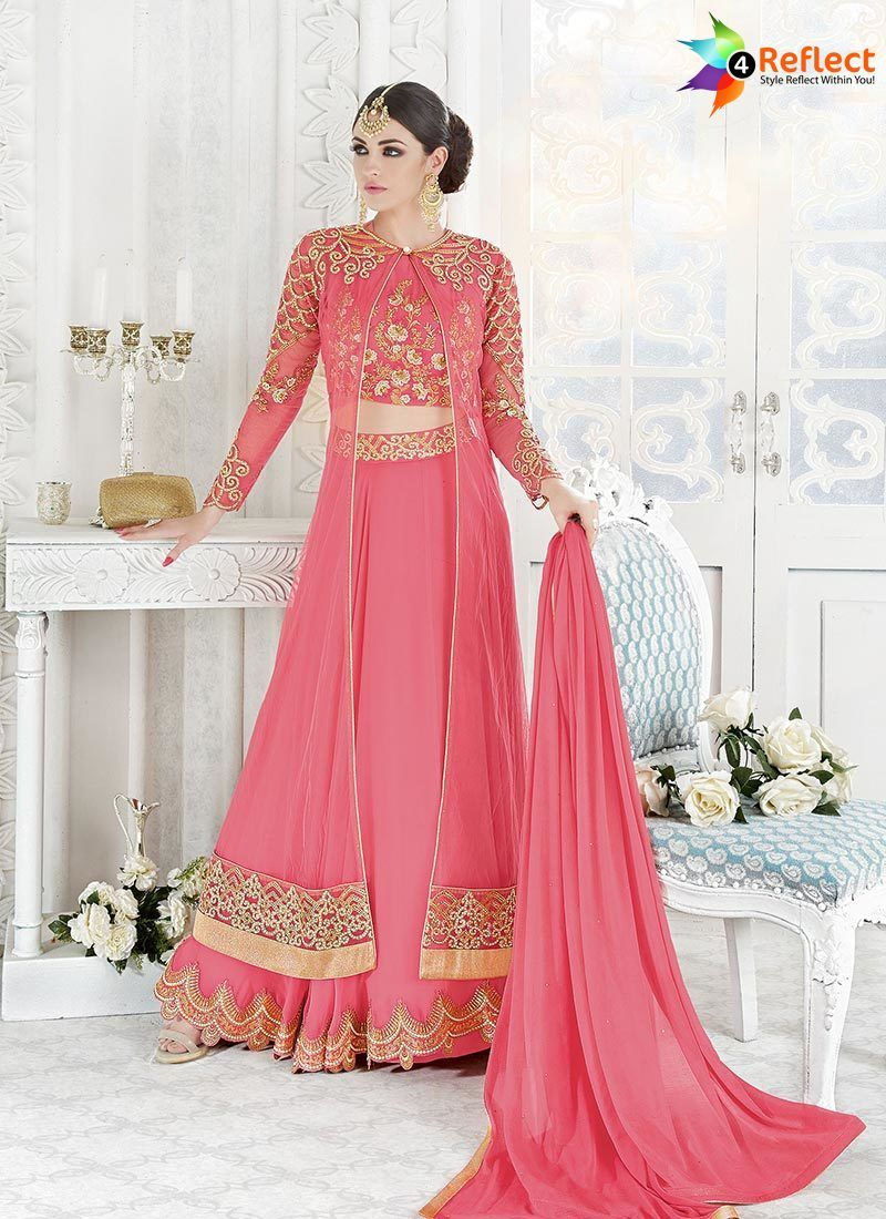 WONDROUS PINK GEORGETTE AND NET DESIGNER LEHENGA SUIT | Lehenga ...