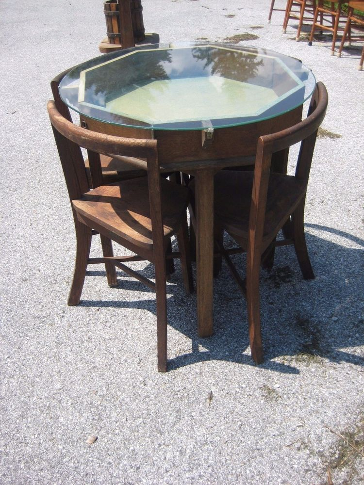 Antique Gaming Table 4 Chairs Frank Rieder Sons Philadelphia Seatmore | eBay - Antique Gaming Table 4 Chairs Frank Rieder Sons Philadelphia