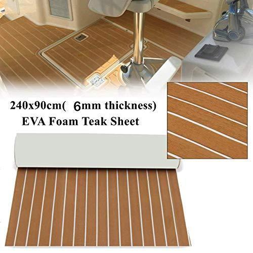 EVA Foam Faux Teak Sheet Boat Yacht Synthetic Teak Decking Marine Mat – Brown – 35.4 x 94.5 inches