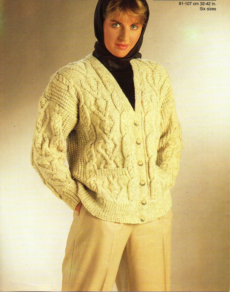 b752a9470 womens aran cardigan knitting pattern pdf ladies cable jacket v neck 32-42
