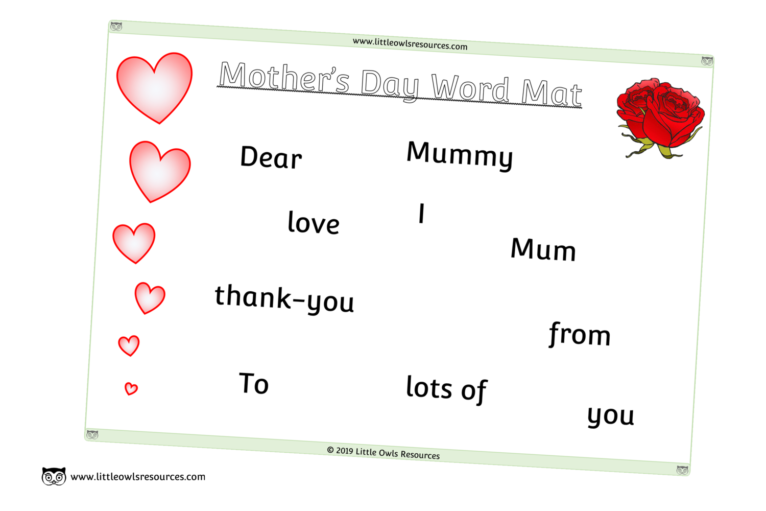 Free Mother S Day Word Mat Printable Early Years Ey Eyfs