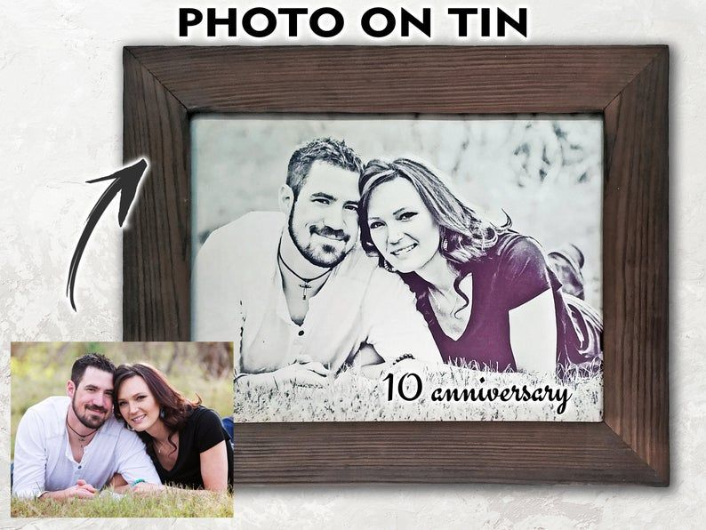 Tin Anniversary Gift 10 Year Your Photo On Tin Etsy In 2020 10th Anniversary Gifts Iron Anniversary Gifts Mens Anniversary Gifts