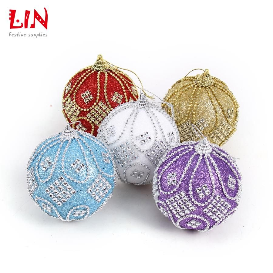 Styrofoam Balls Decorations Christmas 8 Cm Stuck Drill Beads Luxurious Foam Ornaments