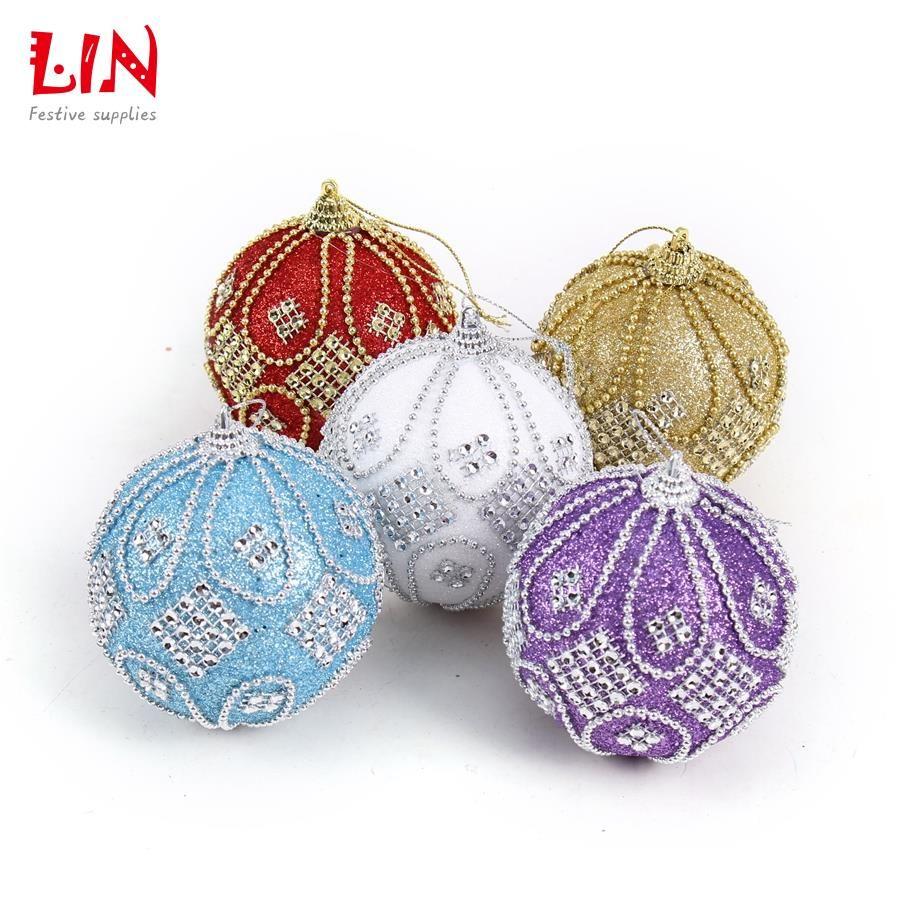 Decorating Ornament Balls Christmas 8 Cm Stuck Drill Beads Luxurious Foam Ornaments