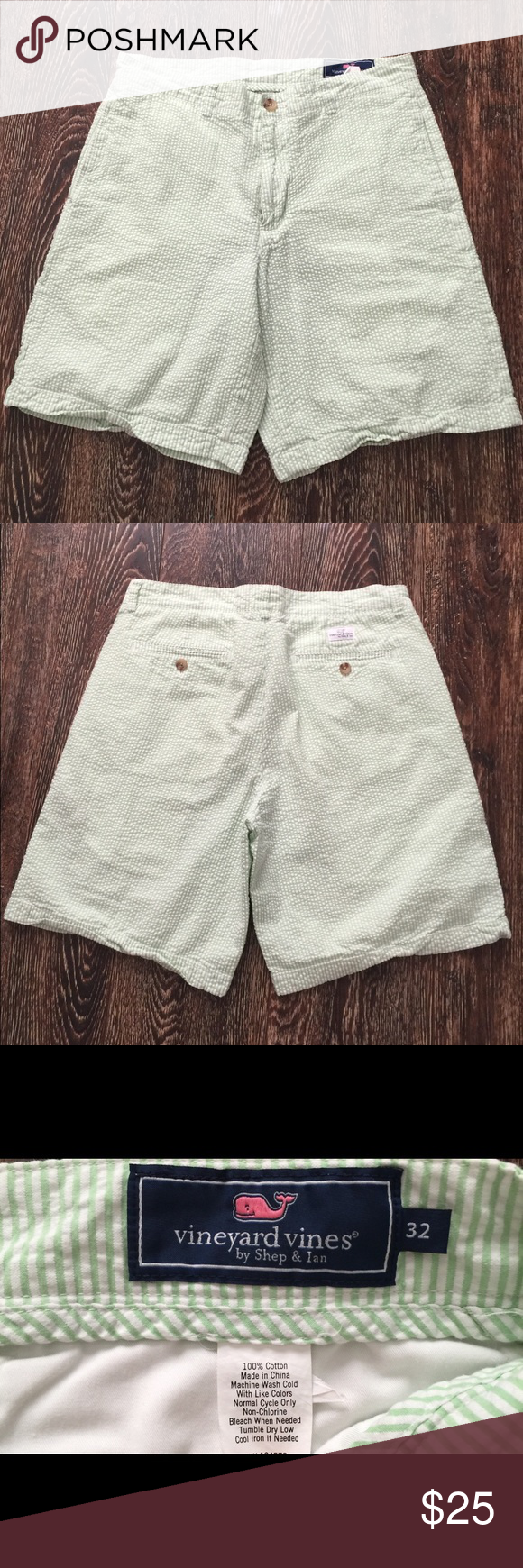 931c2808ab Vineyard vines striped textured shorts Striped light green and white short  gently owned no flows size 32 Vineyard Vines Shorts Flat Front