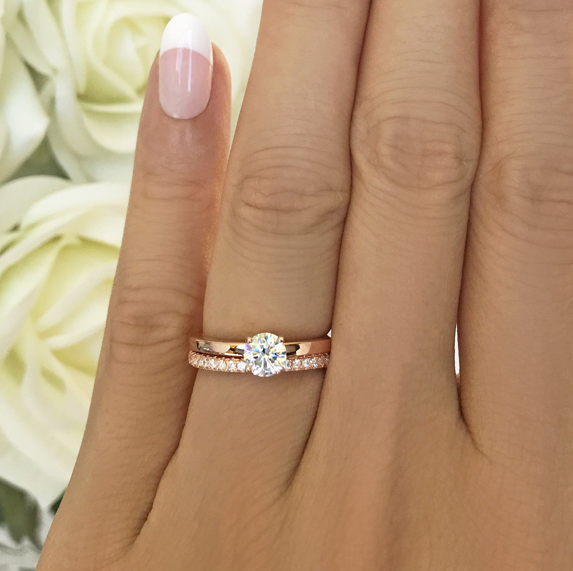 1 2 Ct Round Solitaire Set Rose Gp Yellow Gold Diamond Wedding Band Gold Diamond Wedding Band Solitaire Engagement Ring Rose Gold