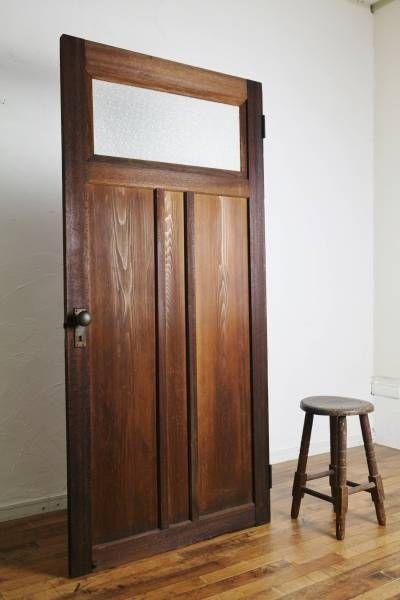 Door アンティーク古い木味のドア真鍮建具扉ガラス戸木製 インテリア
