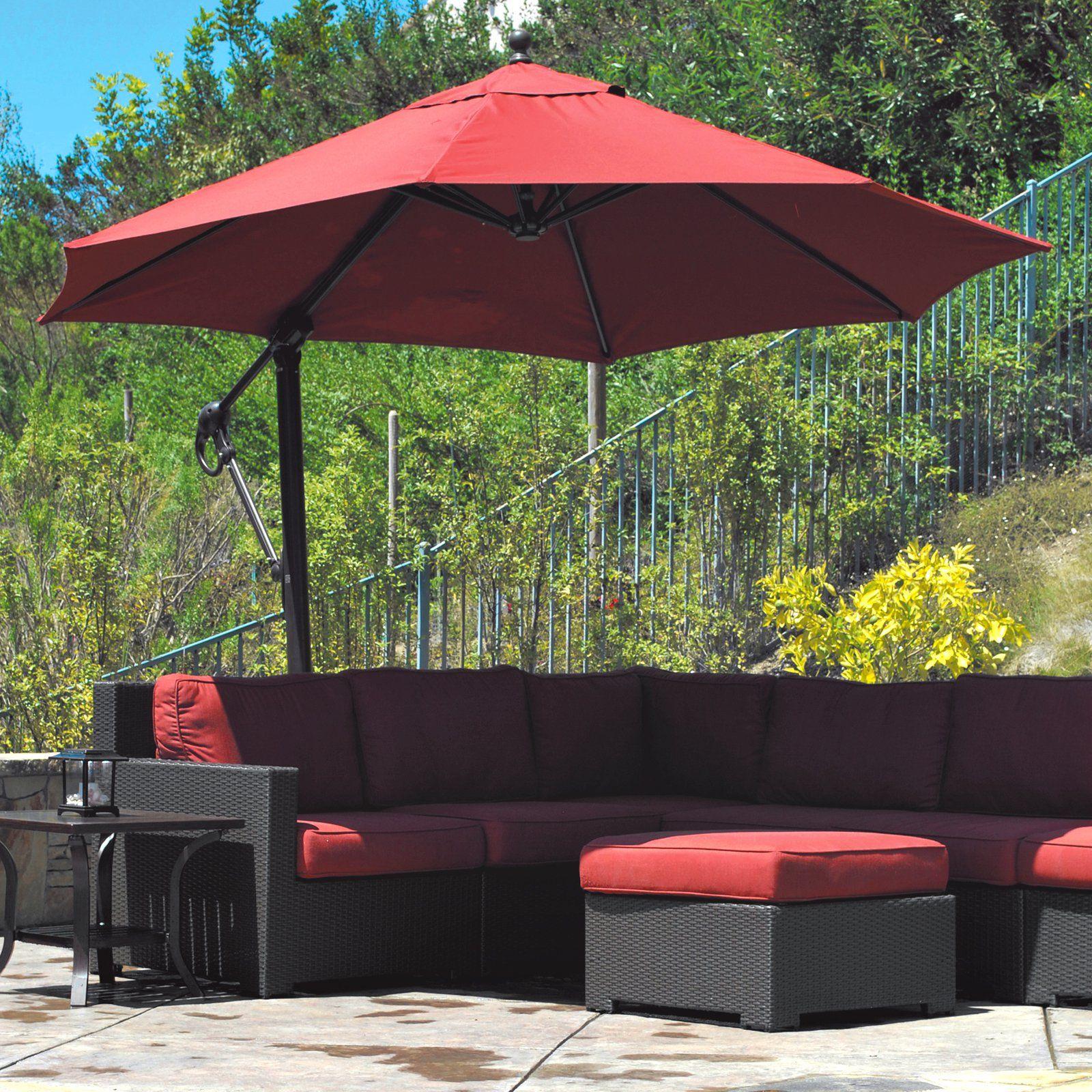 Galtech Sunbrella Easy Tilt 11 Ft Offset Umbrella With Wheeled Base Outdoor Patio Umbrellas Offset Patio Umbrella Patio Umbrella