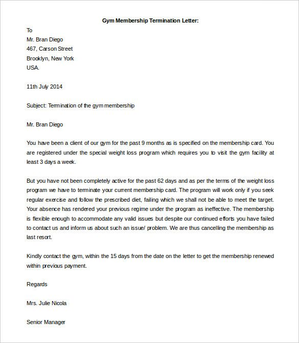free termination letter template word documents download power gym - employee termination letter template free