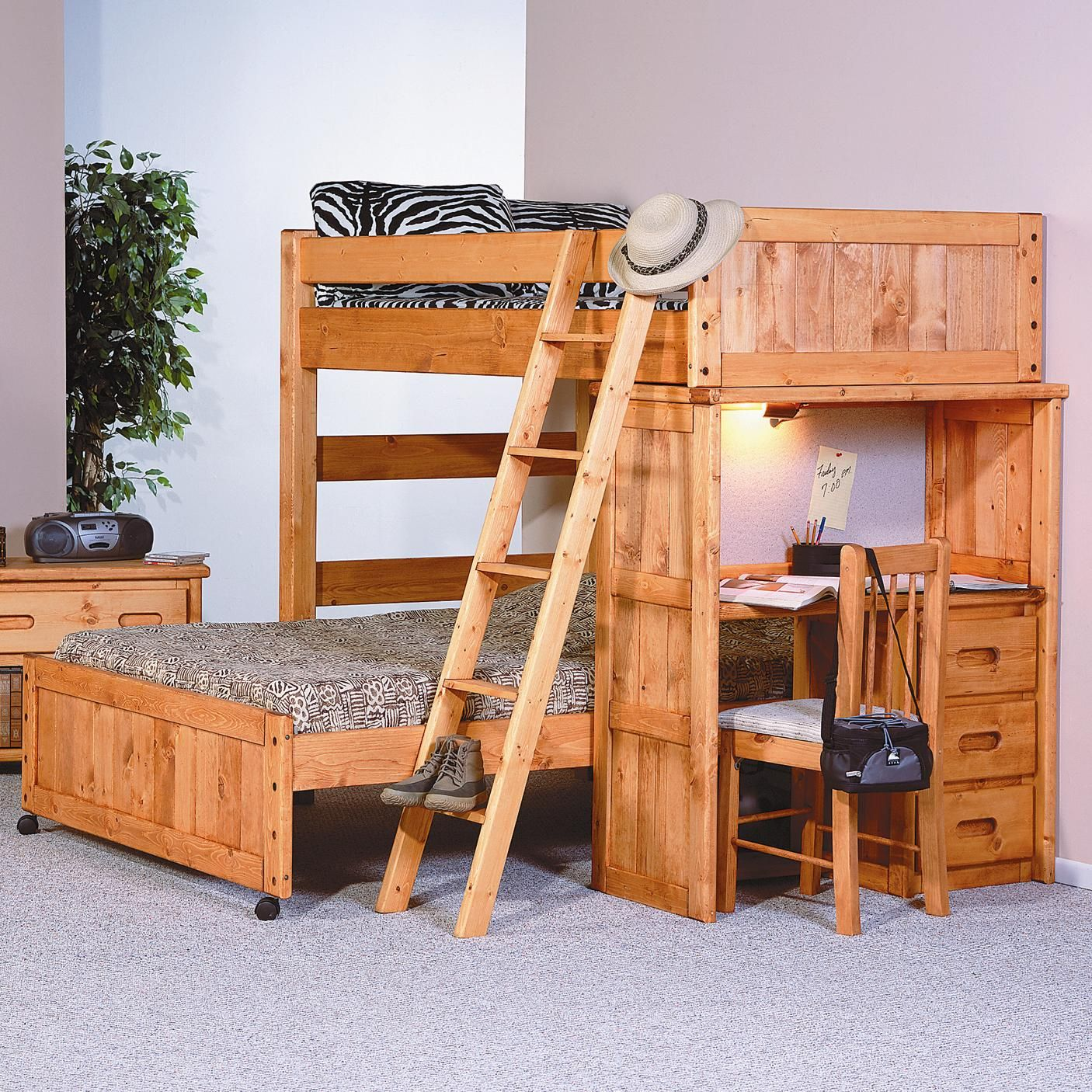 Bunkhouse Twin Full Roundup Loft Bed With Desk End