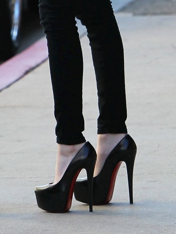 8eb58246545 Sky-high Christian Louboutin platform pumps.