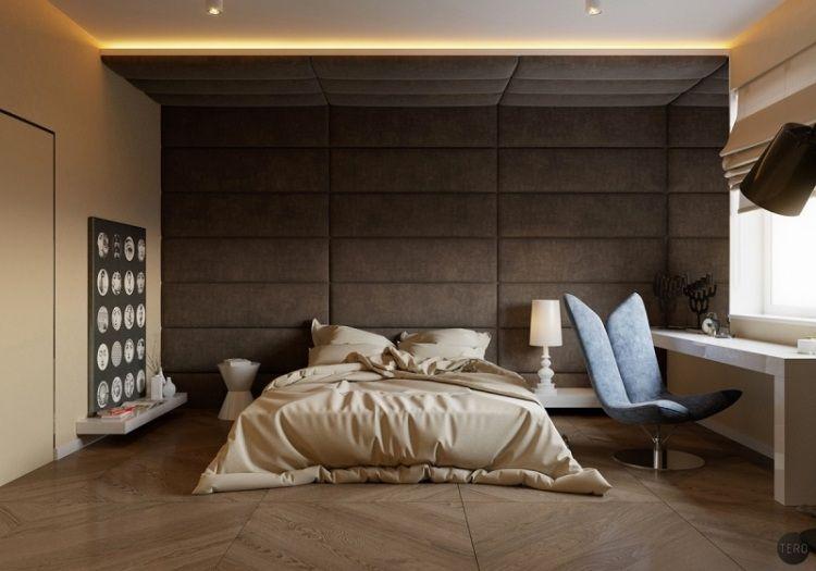 Braunes schlafzimmer ~ Polsterwand und kopfteil in eins schlafzimmer in braun bedroom