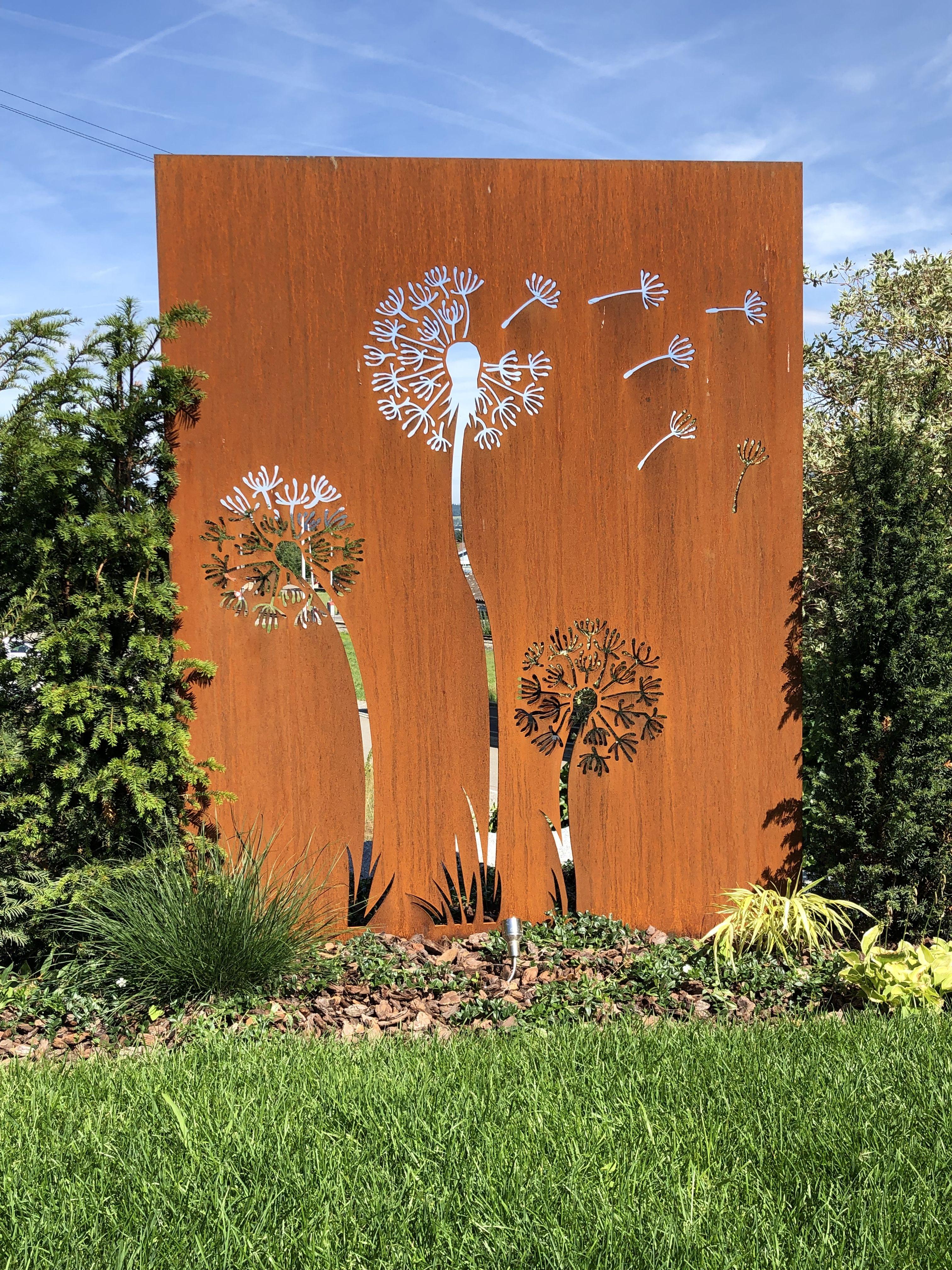 Cortenstahl Trennwand Gartengestaltung Ideen Sichtschutzwand Garten Metall Gartenkunst