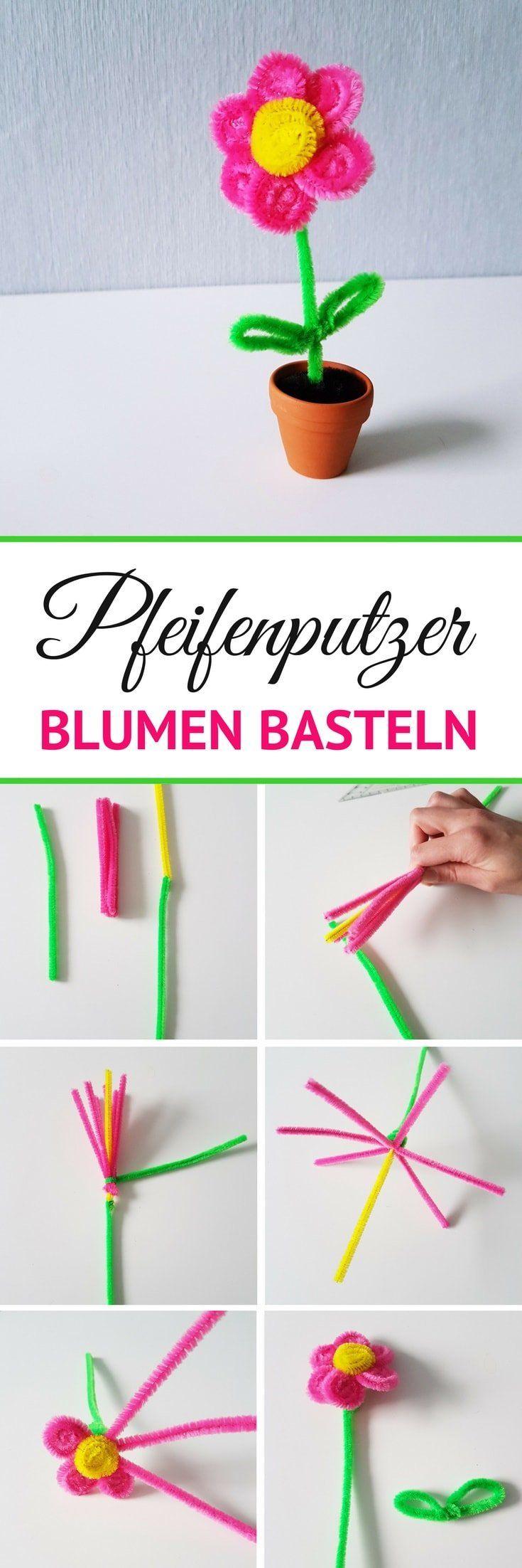 Pfeifenputzer Blumen basteln: Einfache Anleitung für Kinder