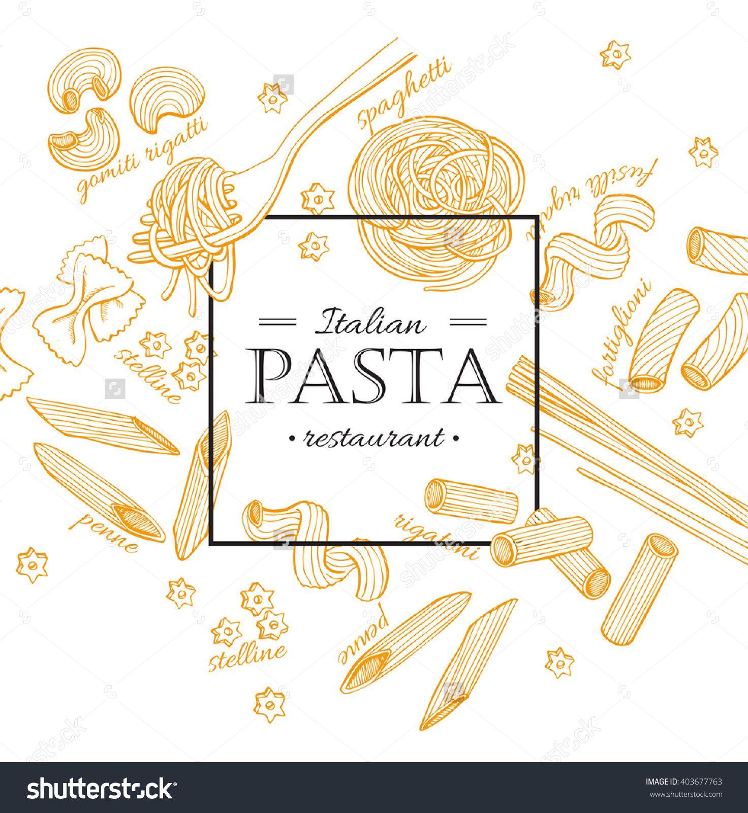 Vector Vintage Italian Pasta Restaurant Illustration Hand Drawn