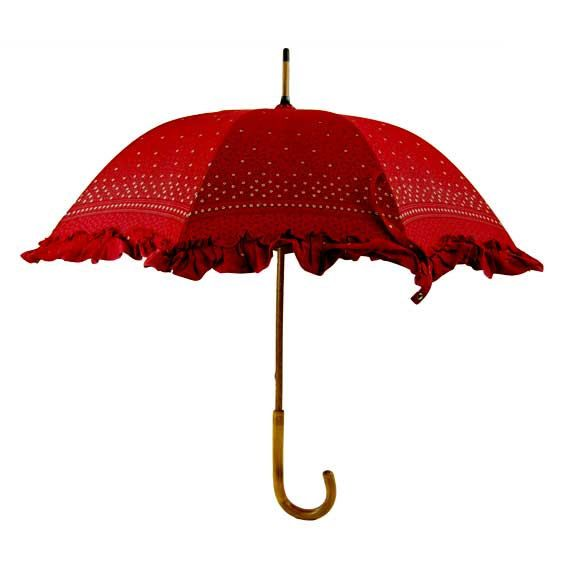 Red Ruffled Vintage Umbrella with Flowers and Berries by Strazor, $71.00
