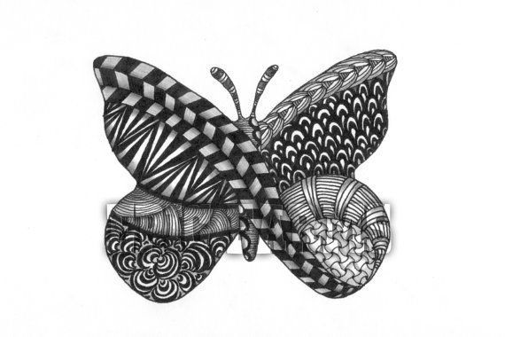 A Jentangled Butterfly Giclee Print by epicfarms on Etsy, $16.50